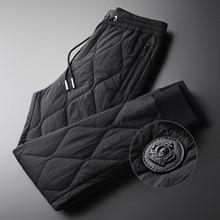 Minglu pantalones de invierno para hombre, pantalones masculinos de lujo con acolchado grueso, mantienen el calor, de talla grande 4xl, con cintura elástica a la moda para otoño