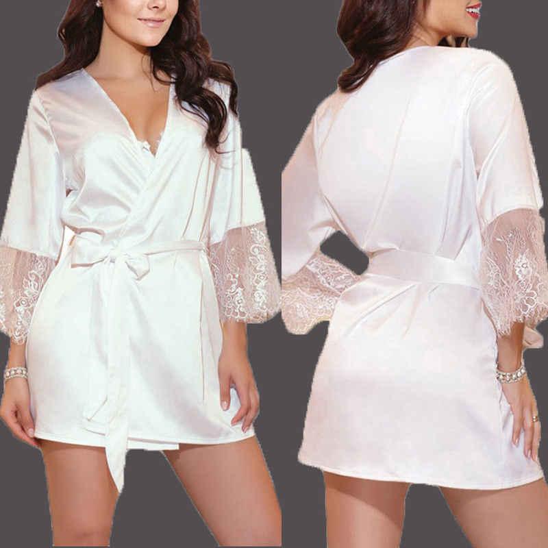 ブランド新セクシーなショートサテン花嫁ローブレースの着物の女性パジャマ夏女性の浴衣ランジェリー服ホームファム