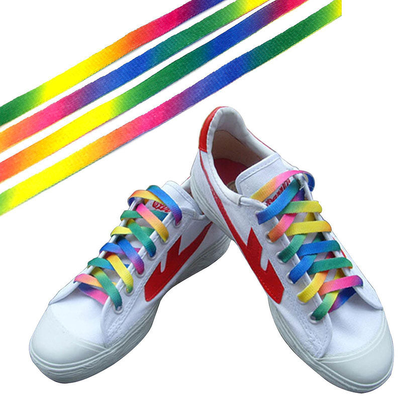 1 Pairs Rainbow Flat Canvas Athletic Shoelace Sport Sneaker Shoe Laces Strings все цены
