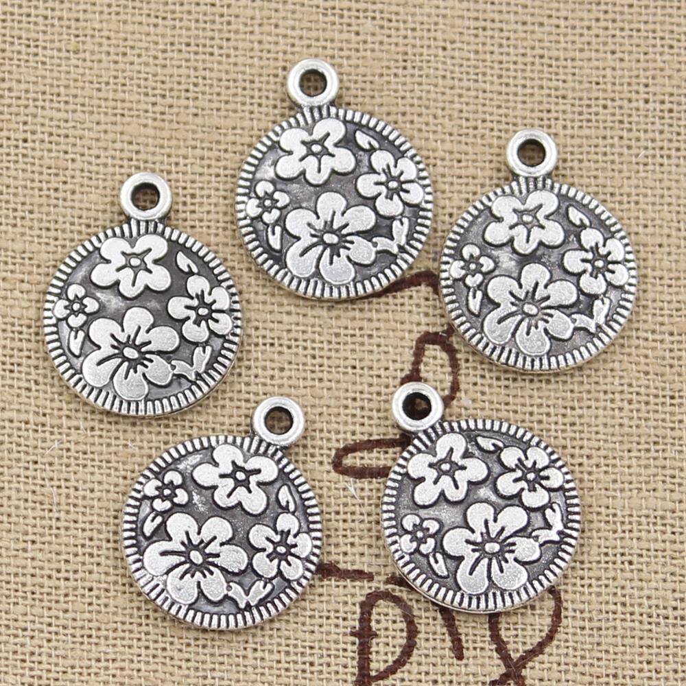 8pcs Charms Circle Flower 18x15mm Antique Making Pendant Fit,Vintage Tibetan Silver,DIY Handmade Jewelry