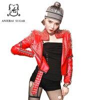 Primavera pu giacca di pelle cappotto donna sexy rosso sottile rivetto moto cerniera turn-imbottiture collare femminile breve roccia dj club jacket