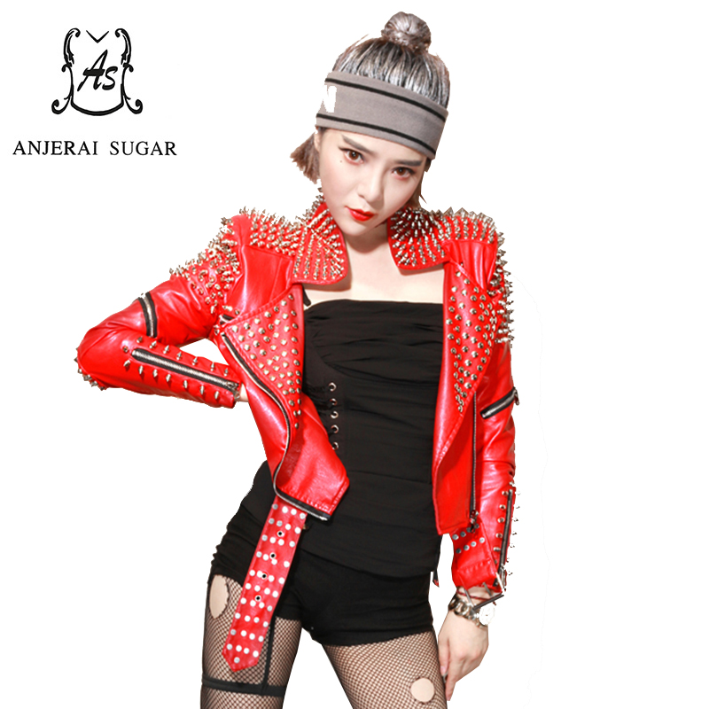 Spring PU Leather jacket Women coat sexy red Slim Rivet zipper motorcycle Turn down Collar female short rock DJ Club jacket