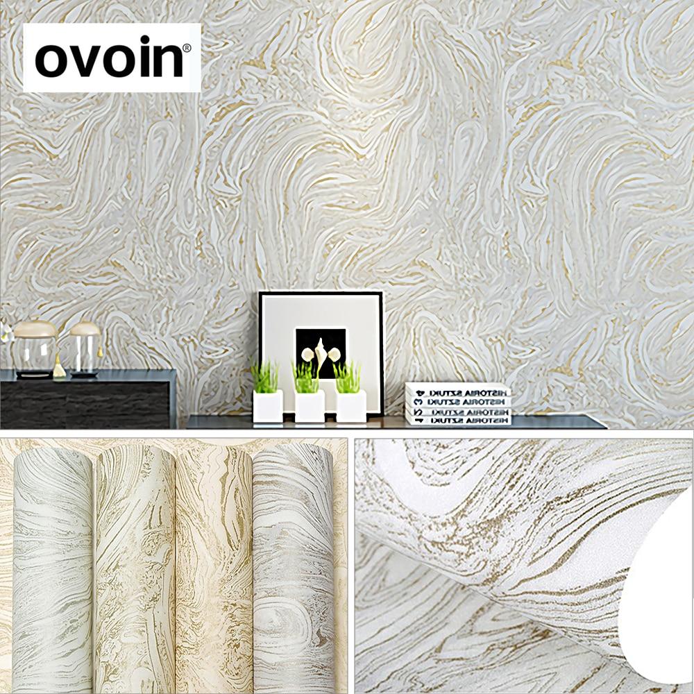 Grey White Beige Modern Metallic Marble Wallpaper Roll