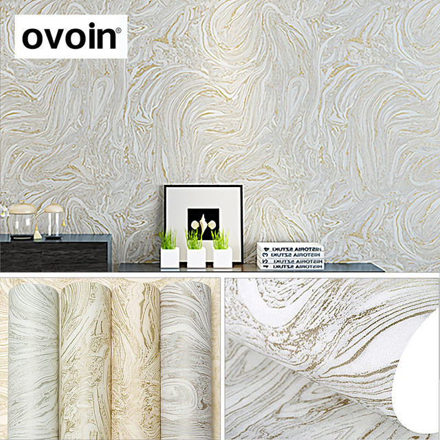Grey/White/Beige Modern Metallic Marble Wallpaper Roll Abstract Wall Paper  Bedroom U0026 Living