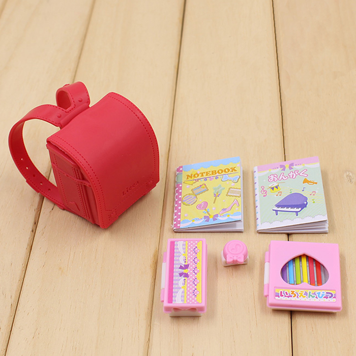 Doll Furniture 6pcs Doll School Bag Stationery Accessories For Licca Doll For Barbie Doll House Best Gift Toy For Girl