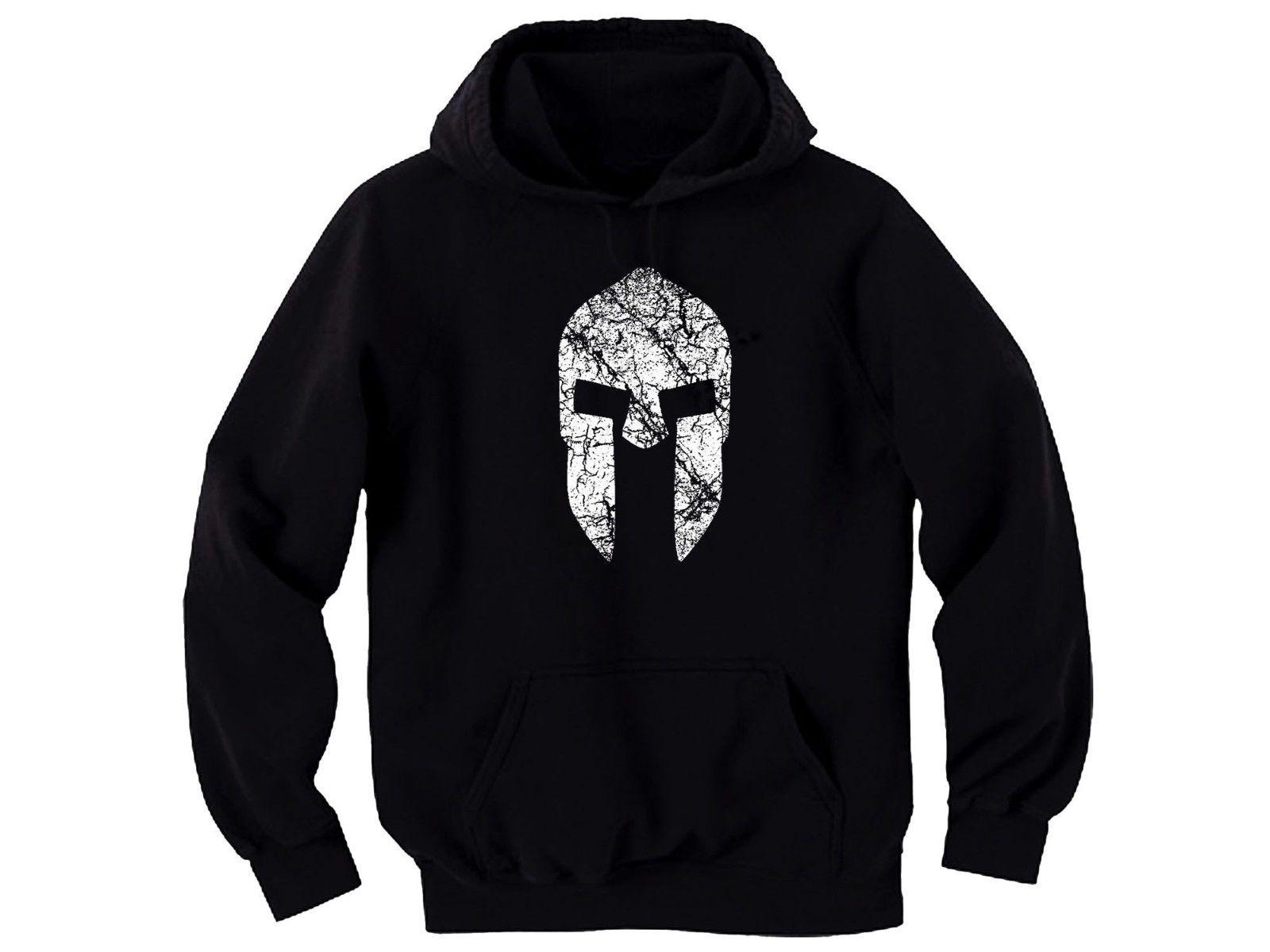 Men's Clothing Spartan Warrior Helmet Distressed Look Customized Black Graphic Hoodie