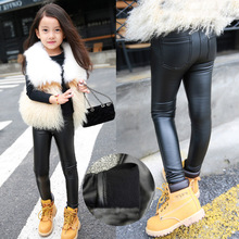 2016 Autumn and Winter children's plus thick velvet legging baby child thicking imitate Leather pants girls bottoming pant