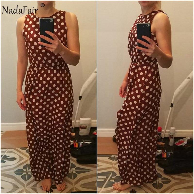 Nadafair Maxi Polka Dot Dress Women Boho Beach Party Chiffon Summer Dress Elastic Waist Dot Casual Elegant Long Dress Vestidos