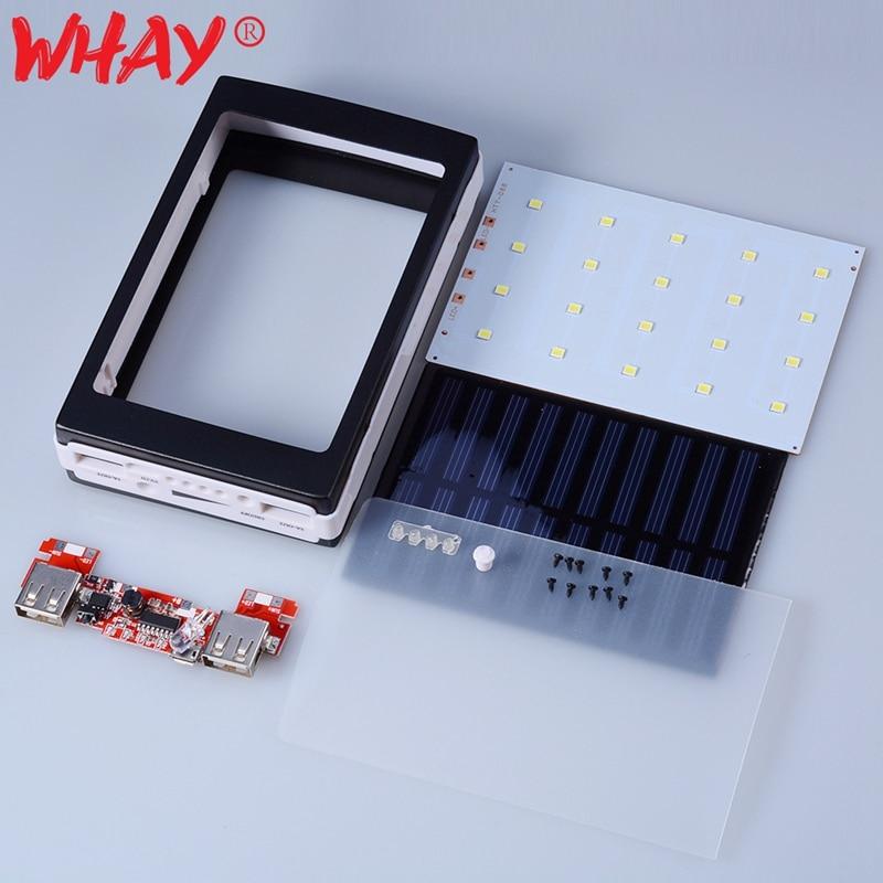 Универсальный внешний аккумулятор DIY 5*18650, чехол на солнечной батарее с двумя USB портами, внешний аккумулятор PCBA с светодиодный коробкой, портативное зарядное устройство для телефона, внешний аккумулятор|Зарядные устройства|   | АлиЭкспресс