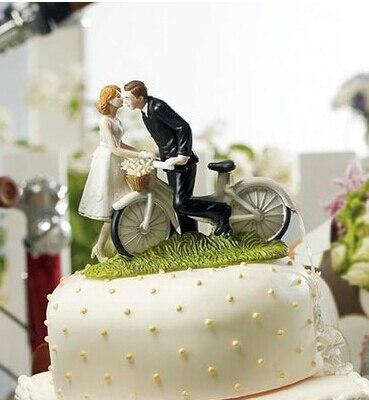 Garniture de gâteau de mariage, bicyclette, baiser sur mesure pour Couple poupée de gâteau