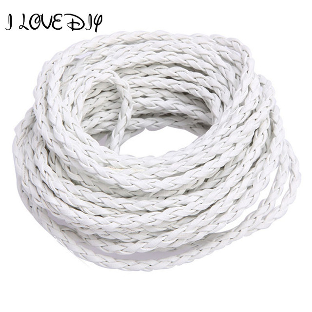 Wholesale 100m/lot Manmade Braided Leather Rope Hemp Cord 3mm for DIY Necklace Bracelet Jewelry Making