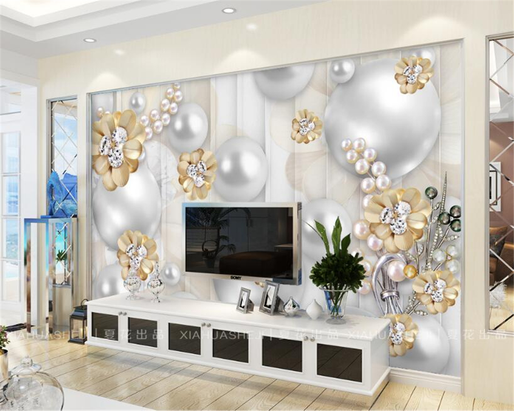 Beibehang Custom Wallpaper Gold Diamond Flower Jewelry Background Wall Living Room Bedroom Tv Mural In Wallpapers From Home