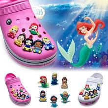 Novelty 1pcs Beautiful Baby Princess PVC Shoe Charms,Shoe Buckles Accessories Fit Bands Bracelets Croc JIBZ,Kids Party Gifts(China)