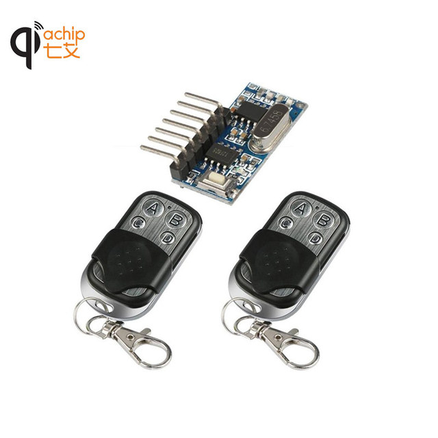 2pcs 433 Mhz Remote Control and 1pcs 433Mhz Wireless Receiver Learning Code 1527 Decoding Module 4Ch output With Learning Button