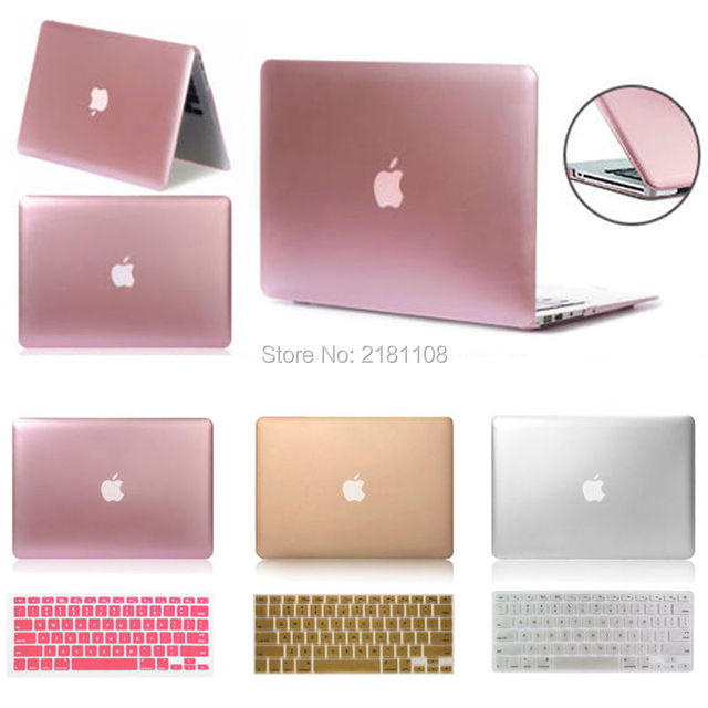 low cost 30b8a c76f5 US $13.29 5% OFF|Ultra Thin Metallic Rose Gold Glossy Hard Case + Keyboard  Cover Skin for Macbook Air 11 13