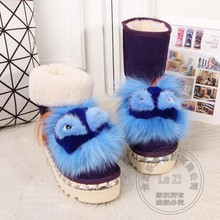 Winter Flat Platform Fleece Pull On Women Fur Boots Snowboots Mid-calf Korean Version Padded Solid Color Rhinestone Waterproof