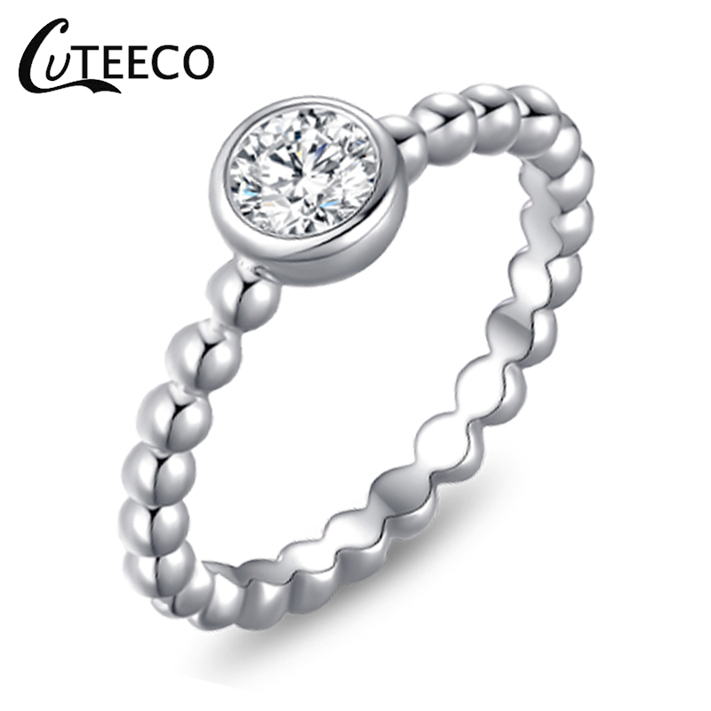 CUTEECO Brand New Zircon Women Sliver Rings For Woman Widding Compatible Brand Ring Jewelry Gift Accessories Rings in Rings from Jewelry Accessories