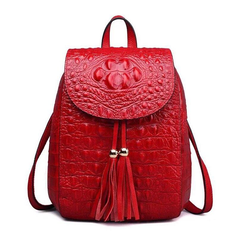 2019 New Design Women Backpack with Tassel Genuine Leather Crocodile Pattern Ladies Rucksacks Small School Bag