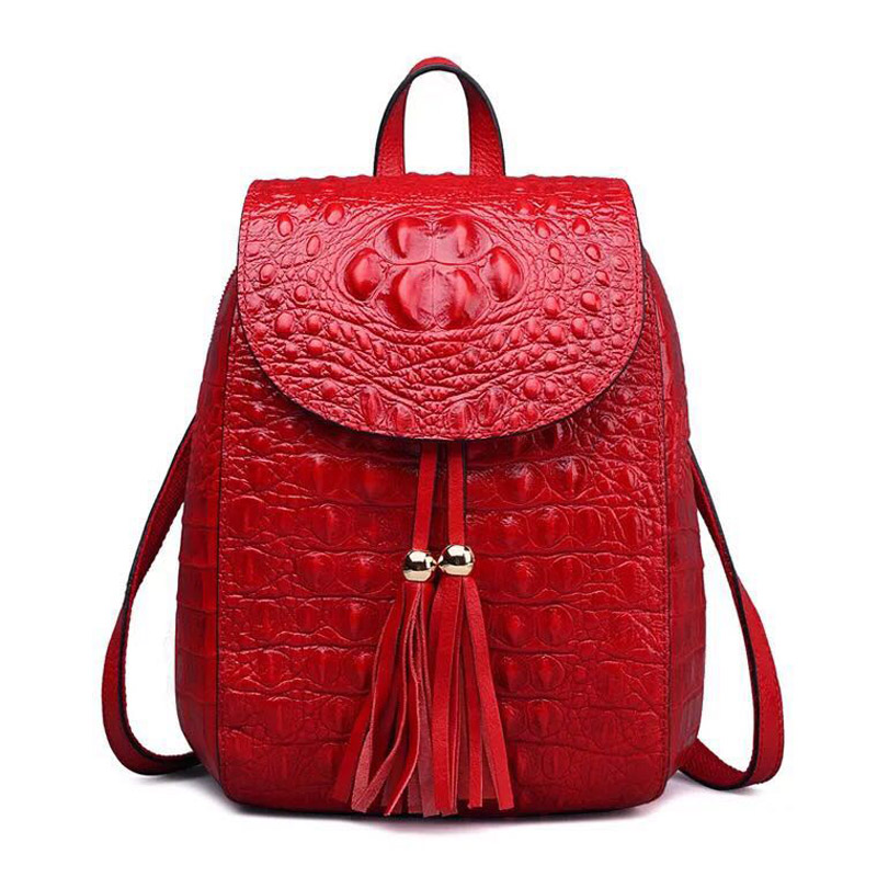 New Design Women Backpack With Tassel Genuine Leather Crocodile Pattern Ladies Rucksacks Small School Bag For Girls