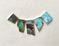 5ps Natural Edge Agate Australia Jade Slice Drilled Side Rectangle Shape Gemstone Connector Jewelry Making Necklace