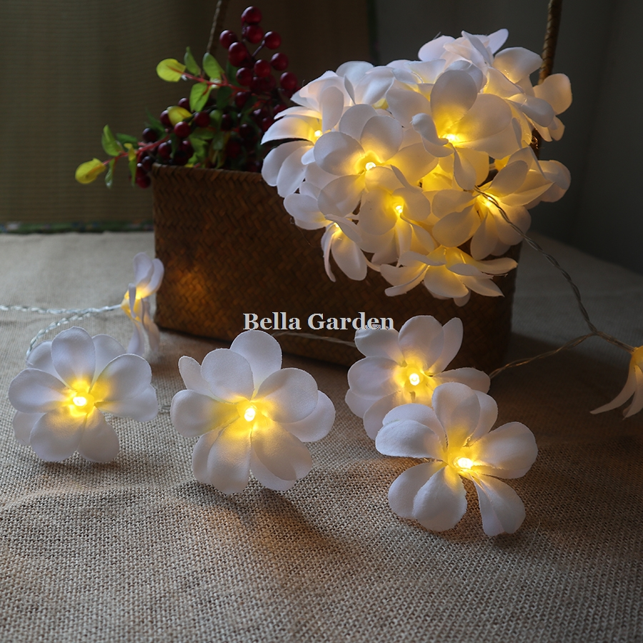 Creative DIY frangipani LED String Lights Batteri blommig semester - Festlig belysning - Foto 5