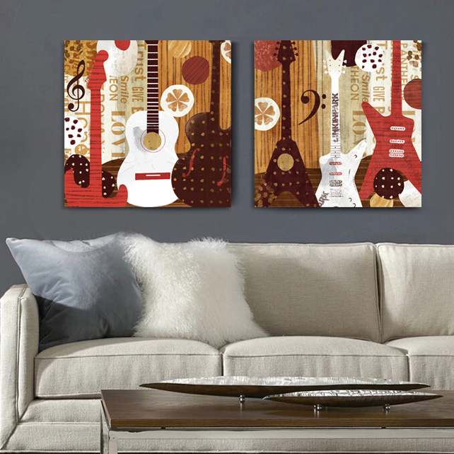 Illustration Style Guitar Music Canvas Wall Art Home Decor Painting The Living Room Office Cartoon Cheap