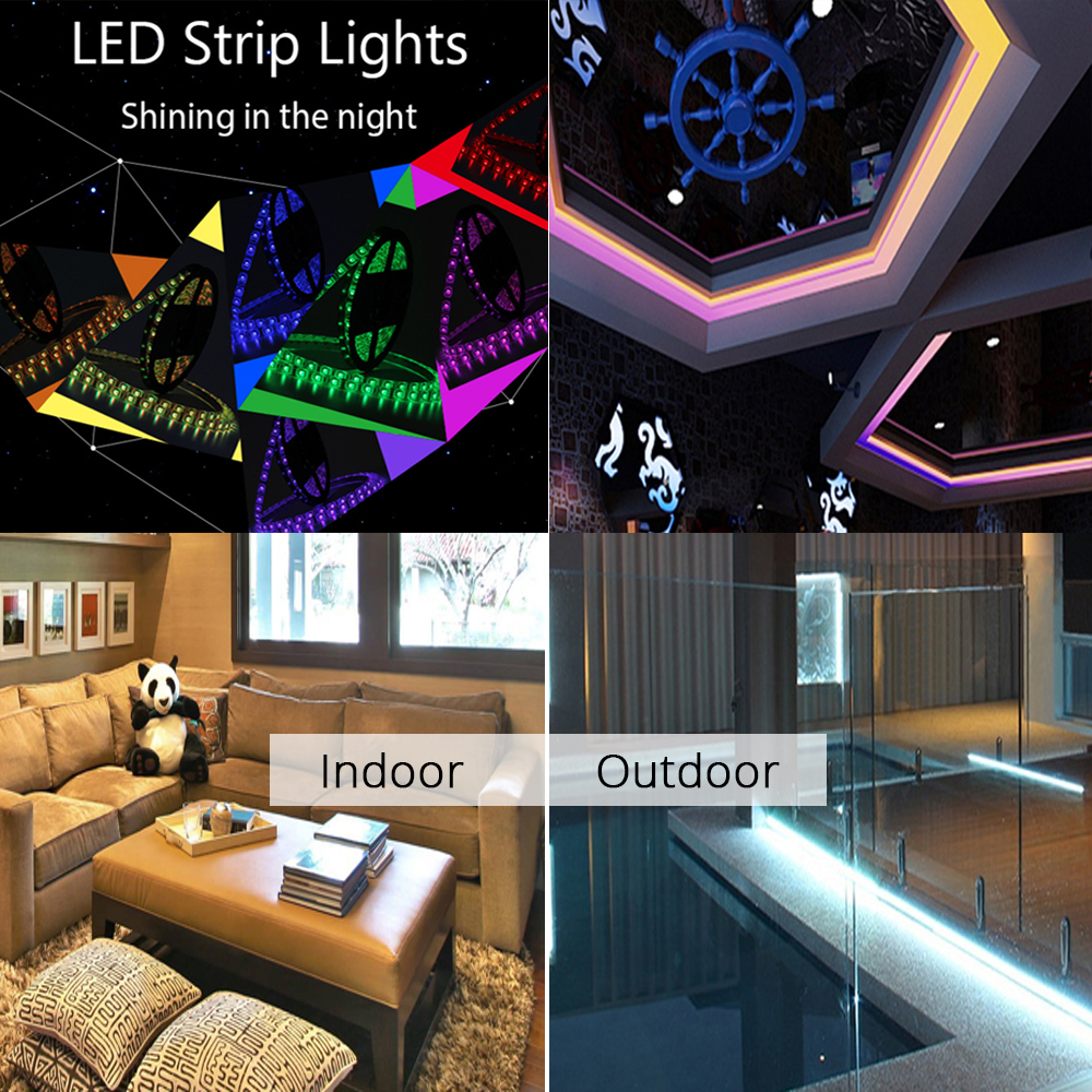 led light strips living room orange and brown curtains full kit waterproof strip 5050 rgb for deco smart 24key wifi mini controller dc12v adapter in from lights