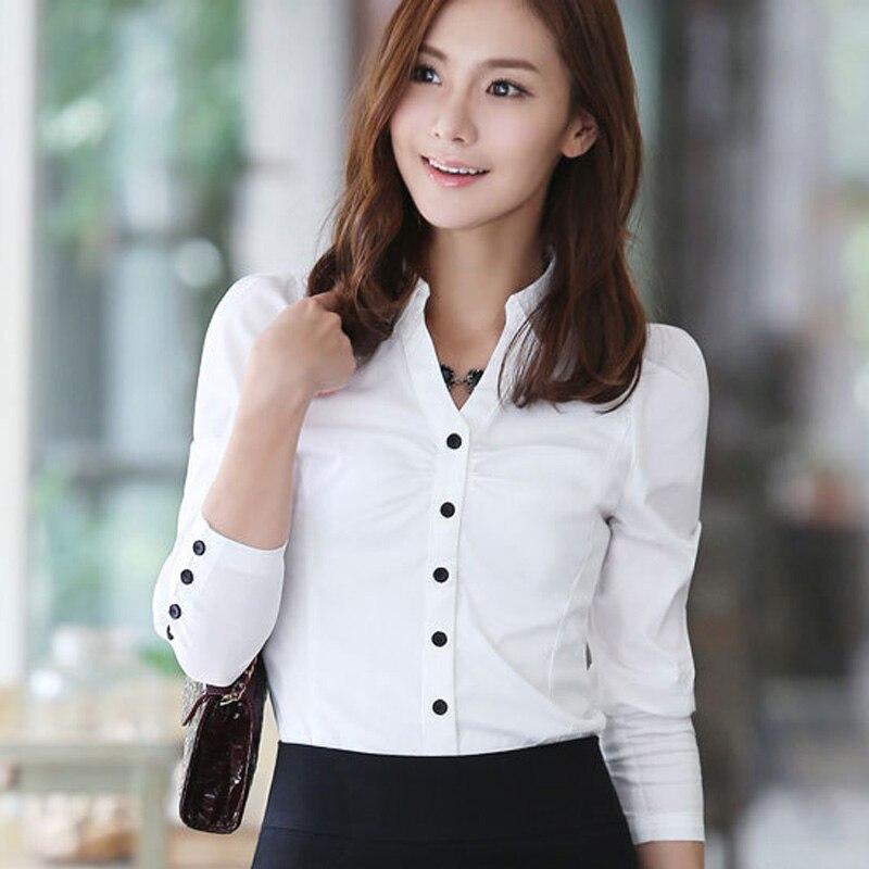 b171b0042a4d Nuevas camisetas coreanas a la moda azules talla grande S-3XL de manga  larga de algodón OL ropa 2016 de carrera mujeres Casual blusas blancas