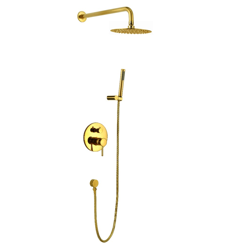 Wall mounted 24k gold PVD finish Rainfall shower bath tub faucet mixer tap Cold and hot water mixing valve shower set