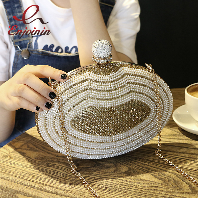 Luxury fashion diamond pearl oval party clutch bag evening bag femal chain purse mini shoulder bag handbag messenger bag flap  striped fashion design lingge pu leather mini party clutch bag ladies evening bag chain purse mini shoulder bag handbag flap