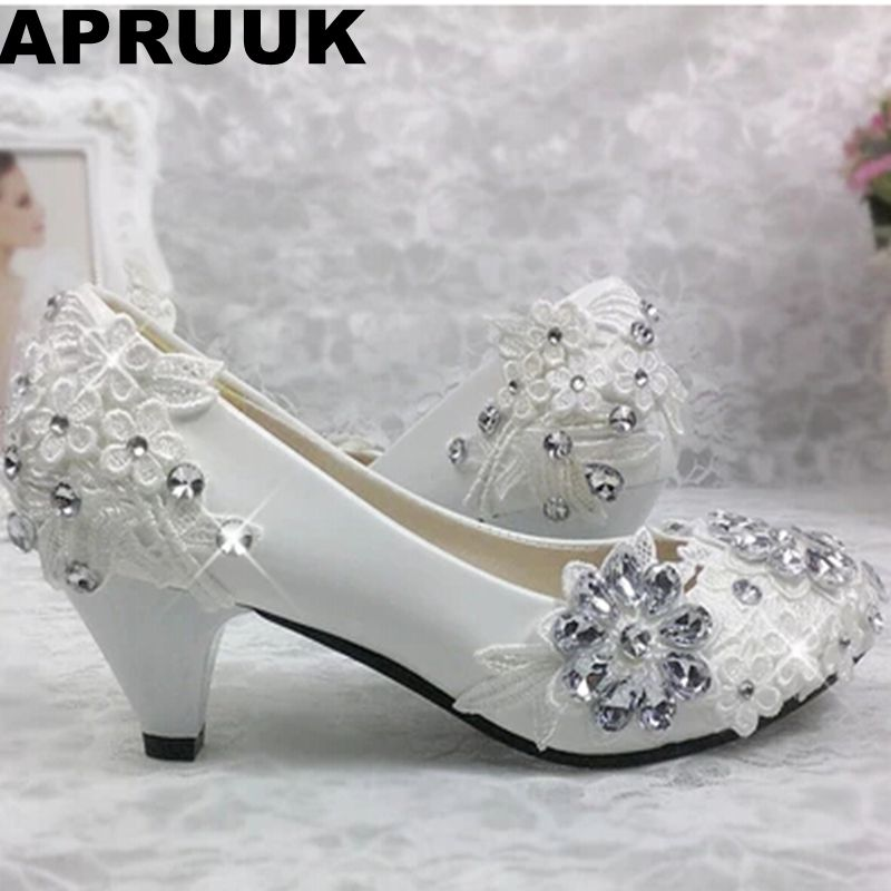100% real photos handmade wedding shoes white lace silver stone ornament med heel woman bridal shoes bridesmaid shoes plus sizes