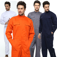 Men's Cotton Breathable One piece Work Coat Tooling Suit Coveralls Pockets Overalls Auto Repair Dust proof