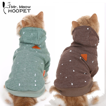 Cat Clothes Ink Printing Hoodies Hooded Sweater Fall And Winter Clothes Casual Warm Green&Brown Fashion Pet jacket кот играет с веревкой