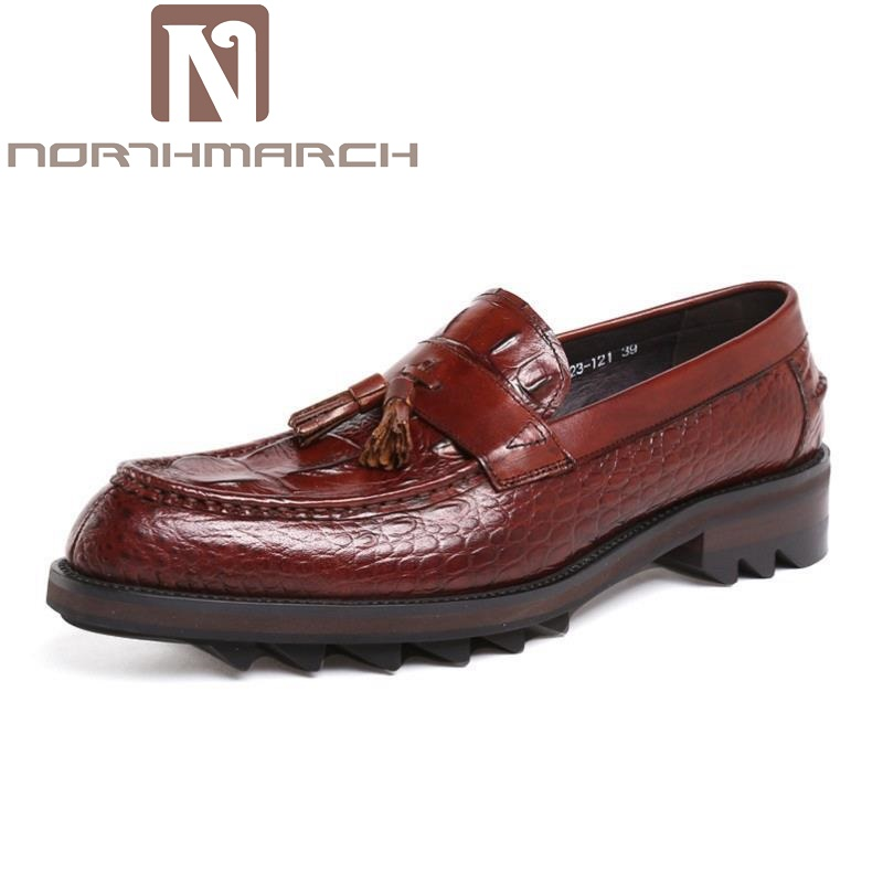 NORTHMARCH Brand Designer Genuine Leather Men Shoes Luxury Loafers Black Crocodile Pointed Casual Shoes Men Mocassini Uomo distressed blue jeans men latin cow brand clothing mid stripe luxury denim destoyed men s moto biker jeans ripped uomo 802 c