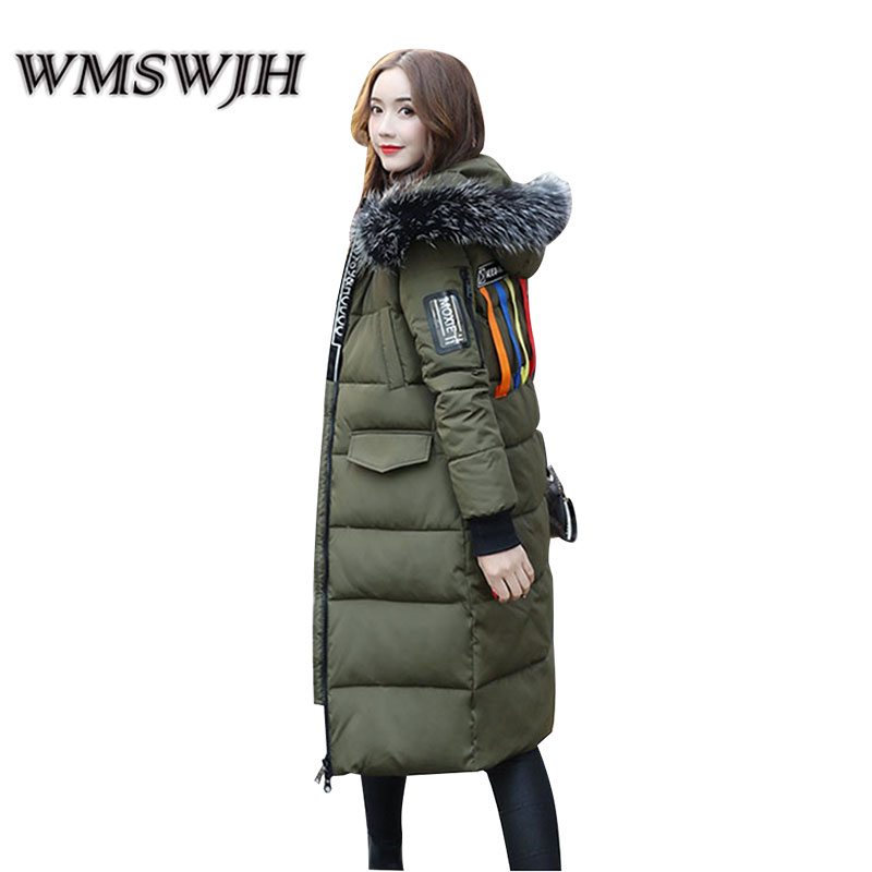 Fashion Women's Cotton-padded Jacket 2017 Winter New Large Fur Collar Hooded Mid Long Section Thick Cotton Jacket Warm Tide women thick winter large size long section padded hooded outerwear new fashion fur collar slim padded cotton warm coat jacket