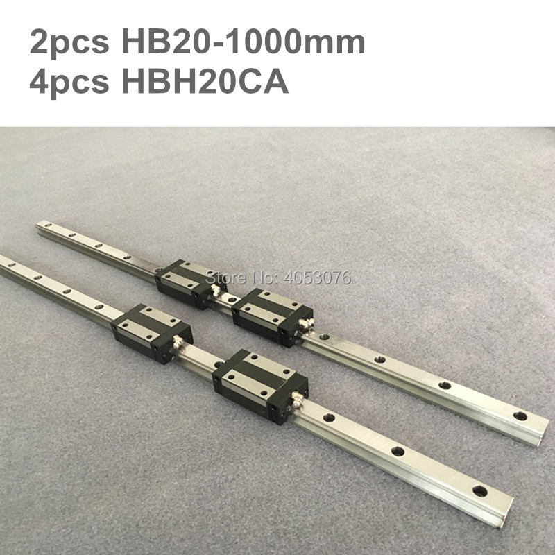HGR 2 pcs linear guide HB20 1000mm Linear rail and 4 pcs HBH20CA linear bearing blocks for CNC partsHGR 2 pcs linear guide HB20 1000mm Linear rail and 4 pcs HBH20CA linear bearing blocks for CNC parts