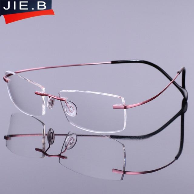 73adca2b63f Lightest flexible pure titanium Rimless brand eyeglasses frames men Women  optical frame spectacle frame eye prescription glasses