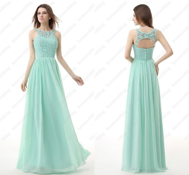 14b4d18f4229 Simple But Elegant Open Back Chiffon And Lace A Line Custom Made Long  Bridesmaid Dresses Turquoise AL21
