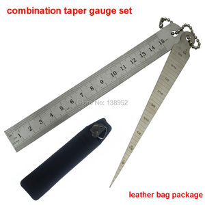 combination set 1-15mm Stainless Steel Taper Gauge Feeler Gap Hole Measuring Tool with 150mm 6inch steel ruler Toper weld gage(China)