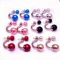 ne449  Hot Fashion Jewelry Earrings Hot Selling 2016 Round Double Pearl Stud Earrings Big Pearl earrings for Women