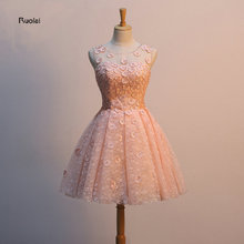 ФОТО    Real Sample Lace Flowers Ball Gown Mini Tulle Sexy Short Prom Dresses  Wedding Party Custom