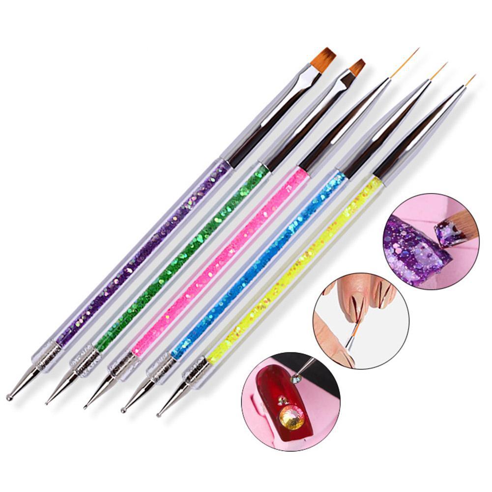 HobbyLane Professional Nail Art Tool 5 Pcs/set UV Gel Painting Nail Art Dotting Pen 2 Ways Swirl Marbleizing Steel Dotting Pen