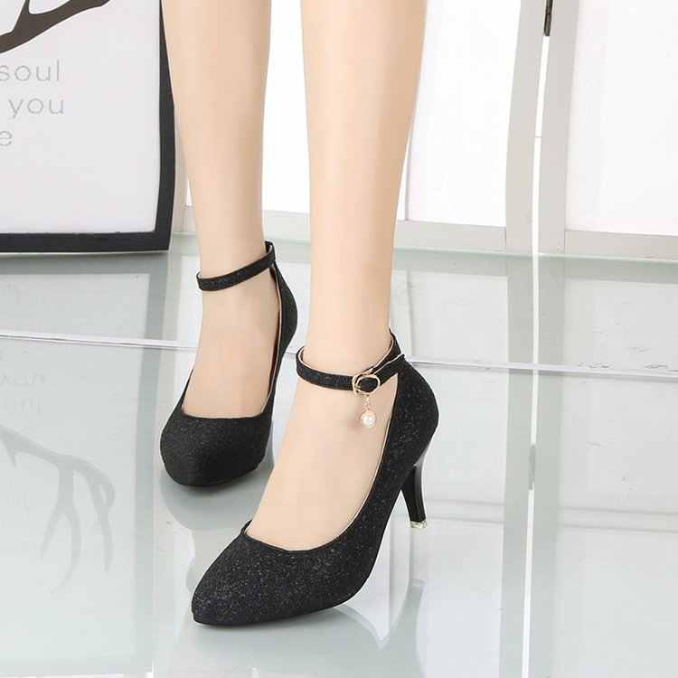 SLYXSH Plus Größe 35-43 Frauen Ankle Strap Pumps High Heels Kleid Schuhe Bling Hochzeit Schuhe Gold Silber Damen schuhe