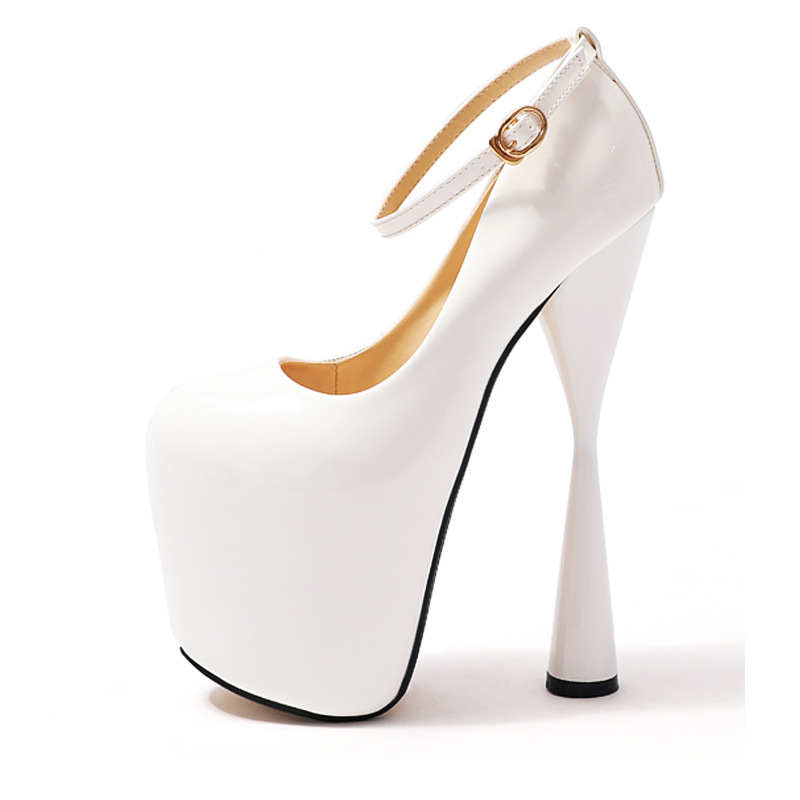 Gladiator High Heels 19cm Women Shoes Round Toe Heels White Dress Wedding Shoes Fashion Party Shoes Platform Heels Pumps 34-47