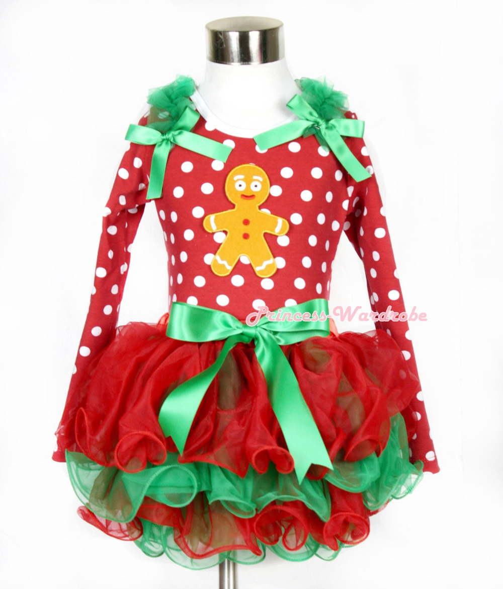 Xmas Kelly Green Bow Red Green Petal Pettiskirt Minnie Dots Long Sleeve Top Kelly Green Ruffles & Brown Gingerbread Man MAMW322 kiniki kelly tanga mens