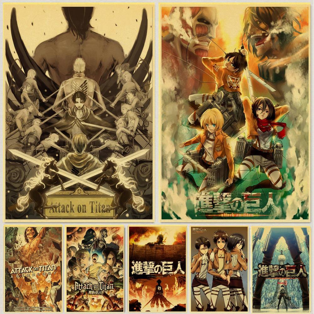Постеры из японского аниме «атака на Титанов» в стиле ретро, крафт-бумага, Высококачественная картина для домашнего декора, настенные накле...