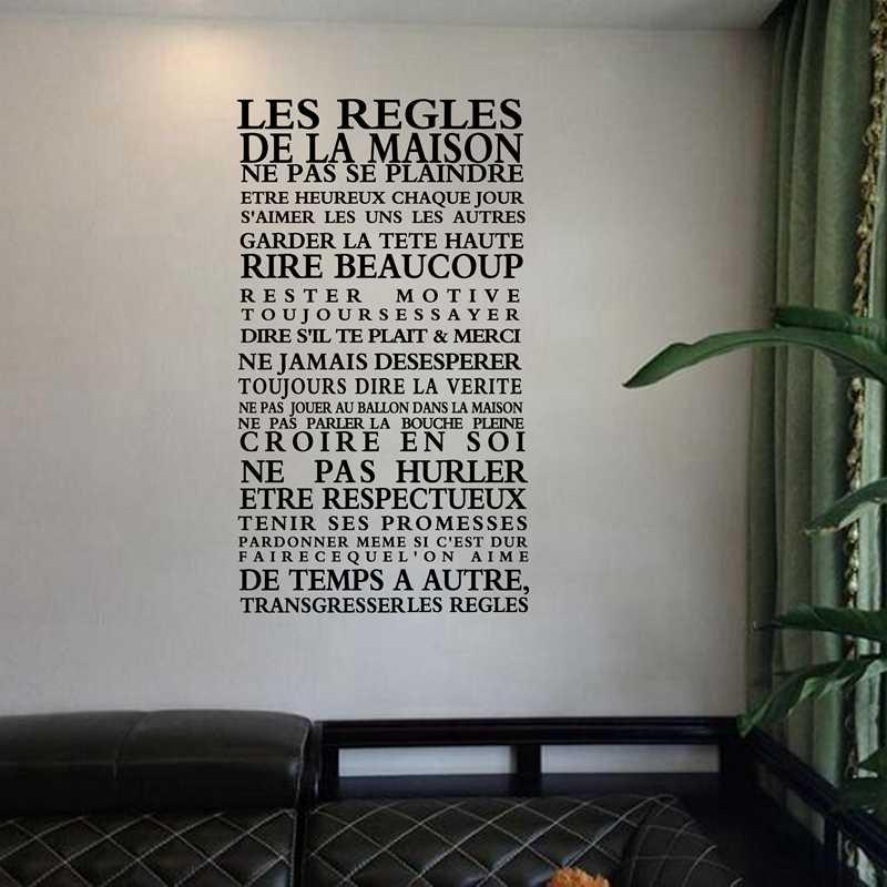 """Versión francesa """"Reglas de La Casa"""" cita pegatinas de pared decoración del hogar, calcomanías de Arte de vinilo pegatina decoración del hogar envío gratis fr1000"""