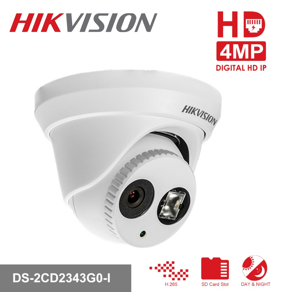 все цены на Hikvision Turret CCTV IP Camera DS-2CD2343G0-I 4MP CMOS IR Fixed Network Security Night Version Camera with SD Card Slot онлайн