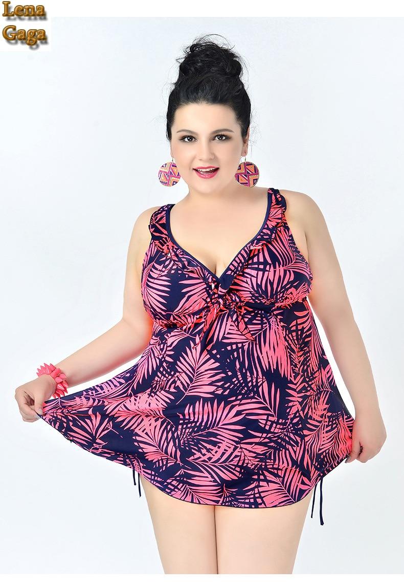 05485960f3c Lena Gaga 5xl-6-8xl Plus Size Swimwear For Fat Women Lady One-Piece Skirt Swimsuit  Plus Size Bust Big Breast Swimwear Large Size