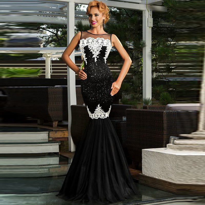 Women S 1920s Black Sequin Gatsby Floor Length Evening